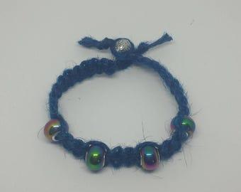 Blue Jute bracelet with Aurora borealis beads
