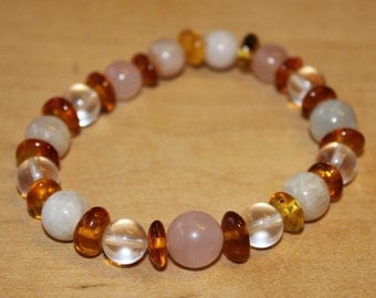 Wrist warm, loving clarity - Rose Quartz, amber, rock crystal, sunstone, Moonstone