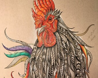Limited Print of Original Drawing, Rooster