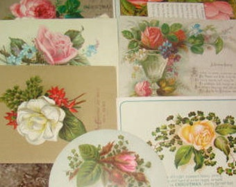 SALE Lot of 9 Vintage Victorian Scraps (Roses)