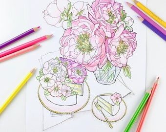 Summer party Peony Flower Cake Coloring Page for Adults Hand Drawn Line Art by Olga Zaytseva, Instant Download