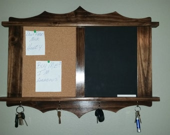 Chalkboard Corkboard Handmade Of Wood With 4 Key Hangers.  Entryway Chalkboard, Kitchen Chalkboard, Office Chalkboard.
