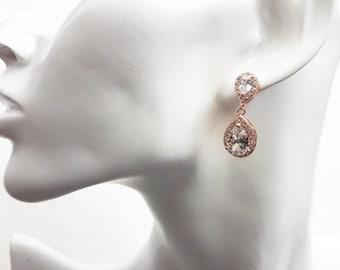 Bridal teardrop earrings Rose gold bride earrings Wedding crystal CZ earrings jewelry Teardrop dangle earrings studs Bridal earrings BJ023