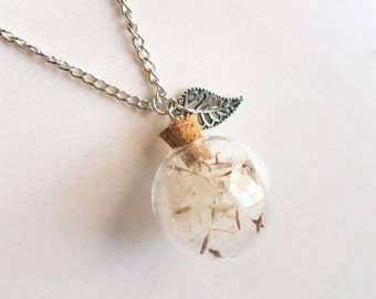 Dandellion necklace, terrarium pendant,terrarium necklace, wishing necklace, birthday gift, make a wish necklace, silver