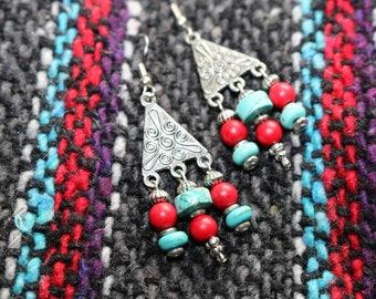 Turquoise and Red Southwestern Earrings/Boho Earrings/Beach Earrings/Third Eye Chakra Jewelry/Girlfriend Gift/Gift for Daughter/Gift for Her