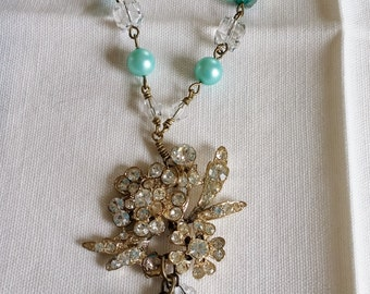 Upcycled Vintage Elements:  Floral Rhinestone Pendant Necklace, Aqua, Turquoise