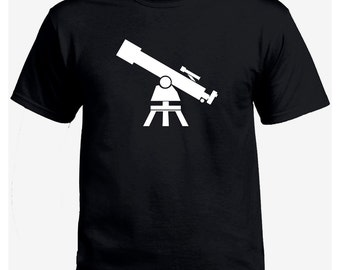 Telescope astronomy black t-shirt