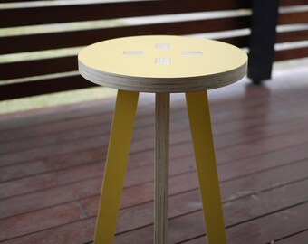 Wooden stool, side table, bedside table, flat-pack delivery, easy assembly