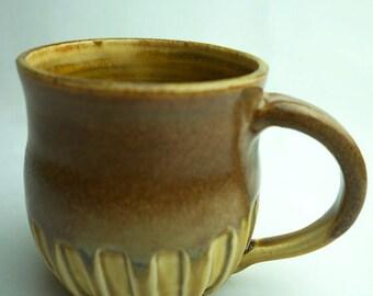 brown textured wheel thrown stoneware mug