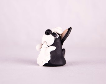 Boston Terrier Little Lady with hat ~ Cute figurines ~ Handmade ~ Sculptured from polymer clay ~ 3D design, One of a kind