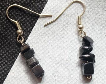 Handmade craft, earrings Hematite earrings