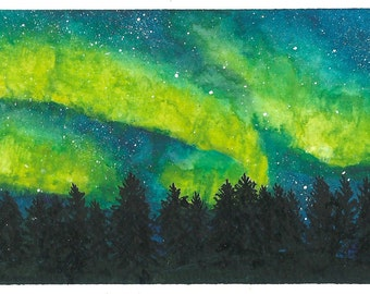 watercolor painting, northern lights, night sky, forest, space