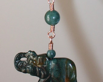 Lucky Elephant and Moss Agate Beaded Necklace