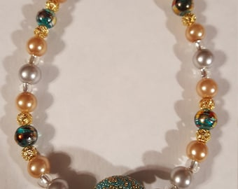 Turquoise, Silver and Gold Bracelet