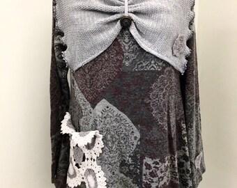 Upcycled Dress Tunic Boho Clothing Gypsy Clothing Upcyled Recycled Repurposed Lagenlook Clothing Upcycled Sweater Top Tunic Upcycle Dresses