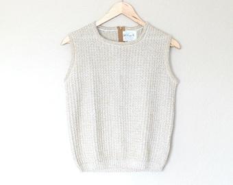 1970s Women's Shimmer Gold Sleeveless Sweater Top