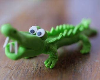 Yourik alligator, crocodile decoration in fimo