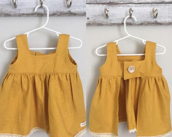 Linen Mustard Open Back Top