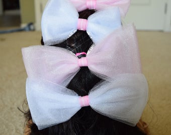 Set of 4 Hairbows, 2 pink and 2 white