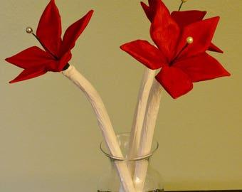 F Silky Red Wild Fabric-Flower Bouquet