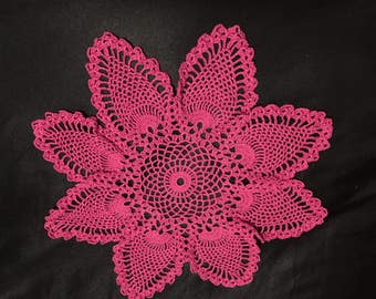 Pretty in Pink Flower Shaped Handmade Crochet FINE Cotton Thread Doilies
