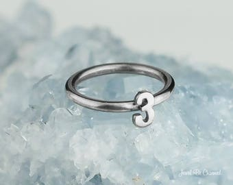 Sterling Silver Number Ring Solid .925 Tiny Numbers 0-9 Custom Sizes
