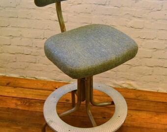 Industrial Tansad swivel office chair leather metal vintage retro antique machinist desk