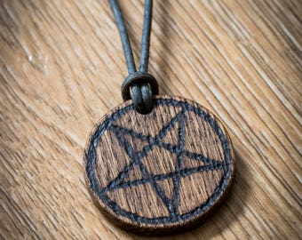 Oak Pentagram Baphomet Pendant Necklace