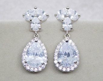 Earrings silver wedding jewelry bridal Bridal jewelry