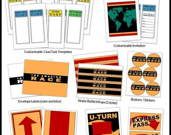 The Amazing Race Party Printables -- DIGITAL -- Customizable clue cards and invitations, flags, signs, and more!