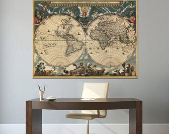 Vintage World Map Double Hemisphere Canvas Panels Set, Large Ancient World Map Print, Detailed World Map Wall Art for Home & Office Decor