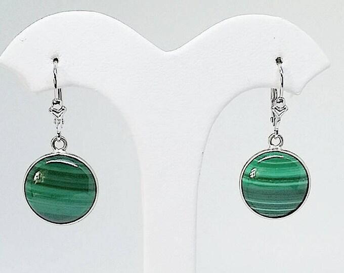 silver and malachite drop earrings for pierced ears