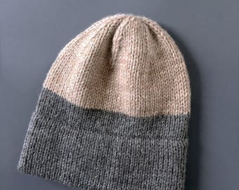 Two Tone Color Block Knit Hat in Sand and Grey