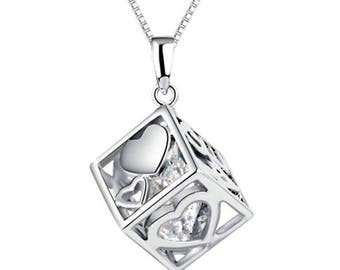 "Solid Silver Necklace with ""Lucky in Love"" Cube Pendant Charm"