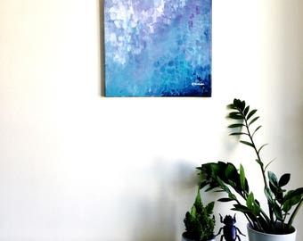 Abstract painting 'fish-scale' ORIGINAL acrylic on canvas, free shipping, blue, mint, turquoise, purple, texture