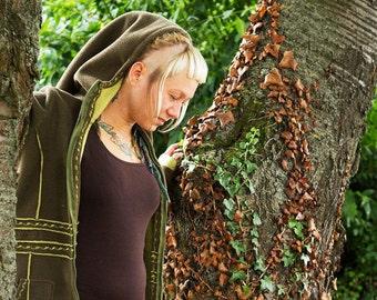Embroidered jacket, long jacket, fleece jacket, hood