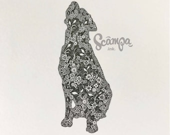 Original hand drawn, ink print illustration of a beautifully detailed Labrador. Framed