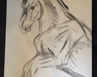 Sketch painting of rearing horse (original)