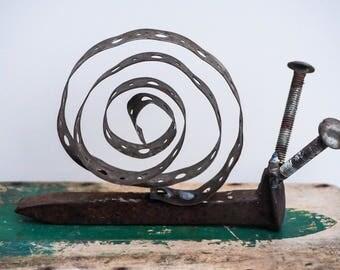 Scrap Metal Art Railroad Spike Snail