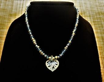 Murano Necklace. Heart Pendant. Gray Blue Necklace. Hematite Necklace. Crystal Necklace. Gemstone Jewelry Gemstone Necklace. Crystal Jewelry