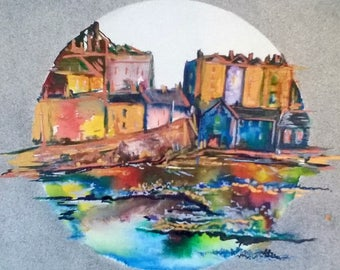 Tenby reflections - box canvas painting