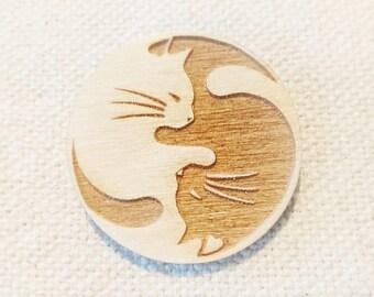 Cat Yin Yang Brooch  |  Laser Cut  |  Gift / Present  |  Wood Jewellery
