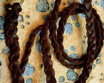 Leather braided leash