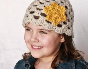 Crochet Flower Hat, Crochet Girls Hat, Spring Hat, Crochet Beanie, Girl's Beanie, Girl's flower Hat, Girls hat, Hat with flower, Fall hat