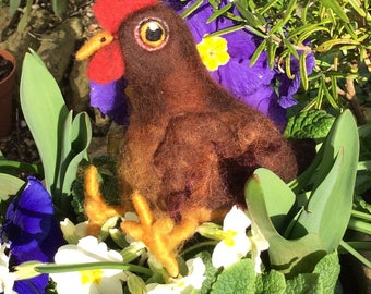 Cluck - needle felted chicken sculpture