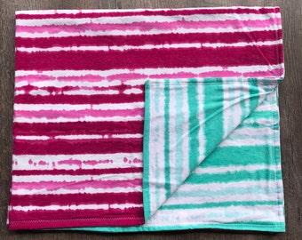 Tie dye Baby blanket/Swaddle blanket/ flannel blanket/ swaddling blanket/ Baby girl/ tie dye /pink
