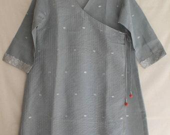 Grey Wrap around Knee length Kurta In Kota Doriya.