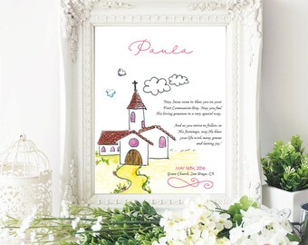 first holy communion gift / First communion print / Religious print / Personalized gift / Illustrated print - PVCH