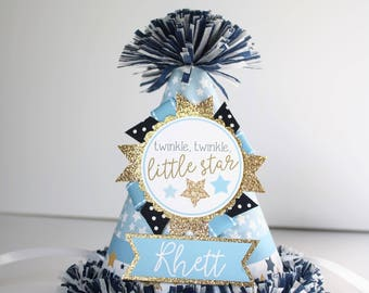 Twinkle Star Party Hat Boy - First Birthday Party Hat - Twinkle Twinkle Little Star First Birthday - Boy Birthday - Blue and Gold