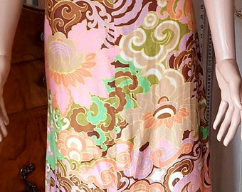 "1960s Pure Silk Empire Line Maxi Dress Psychadellic Print. 40"" 34"" 42"""